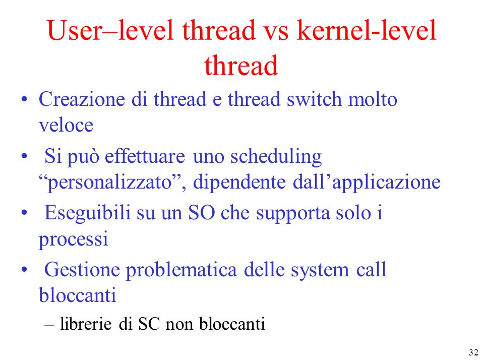 User–level thread vs kernel-level thread