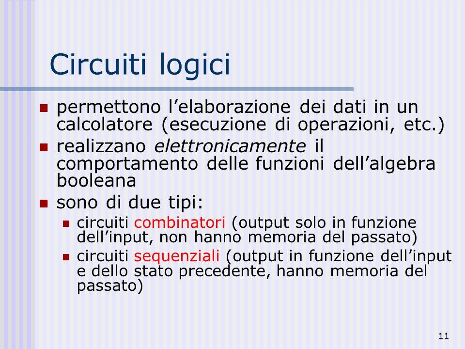 Circuiti logicipermettono l'elaborazione dei dati in un calcolatore (esecuzione di operazioni, etc.)