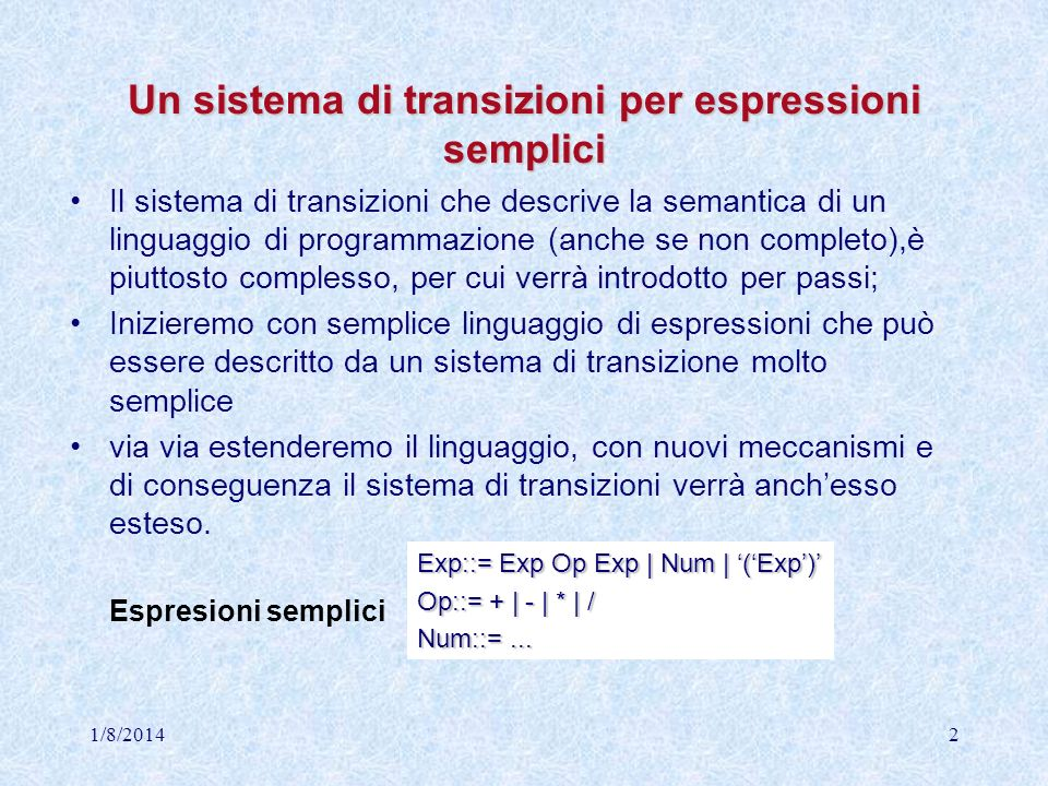 Un sistema di transizioni per espressioni semplici
