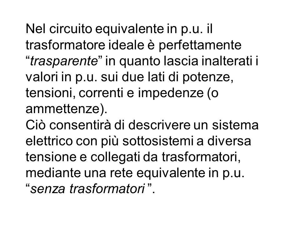 Nel circuito equivalente in p. u