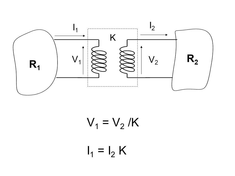 I2 I1 K R2 V1 V2 R1 V1 = V2 /K I1 = I2 K