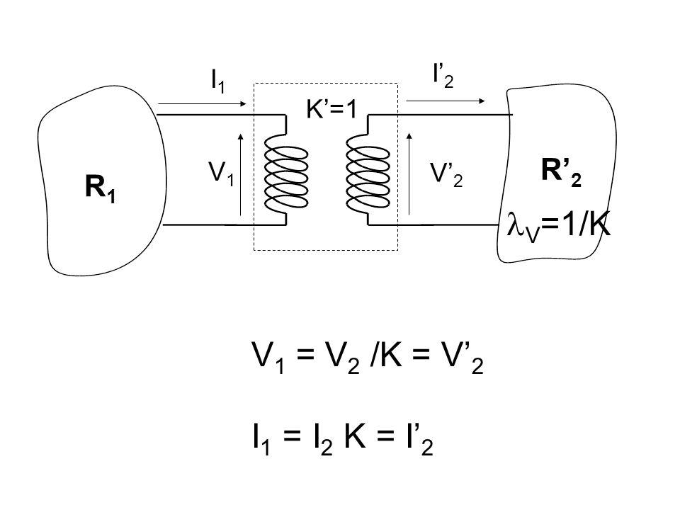 I'2 I1 K'=1 R'2 V1 V'2 R1 V=1/K V1 = V2 /K = V'2 I1 = I2 K = I'2