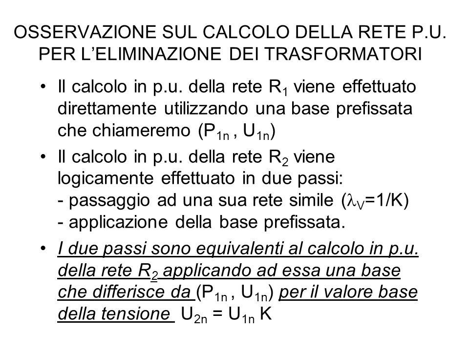 OSSERVAZIONE SUL CALCOLO DELLA RETE P. U
