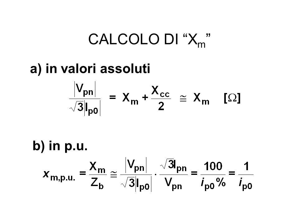 CALCOLO DI Xm a) in valori assoluti b) in p.u.