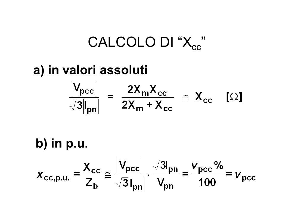 CALCOLO DI Xcc a) in valori assoluti b) in p.u.