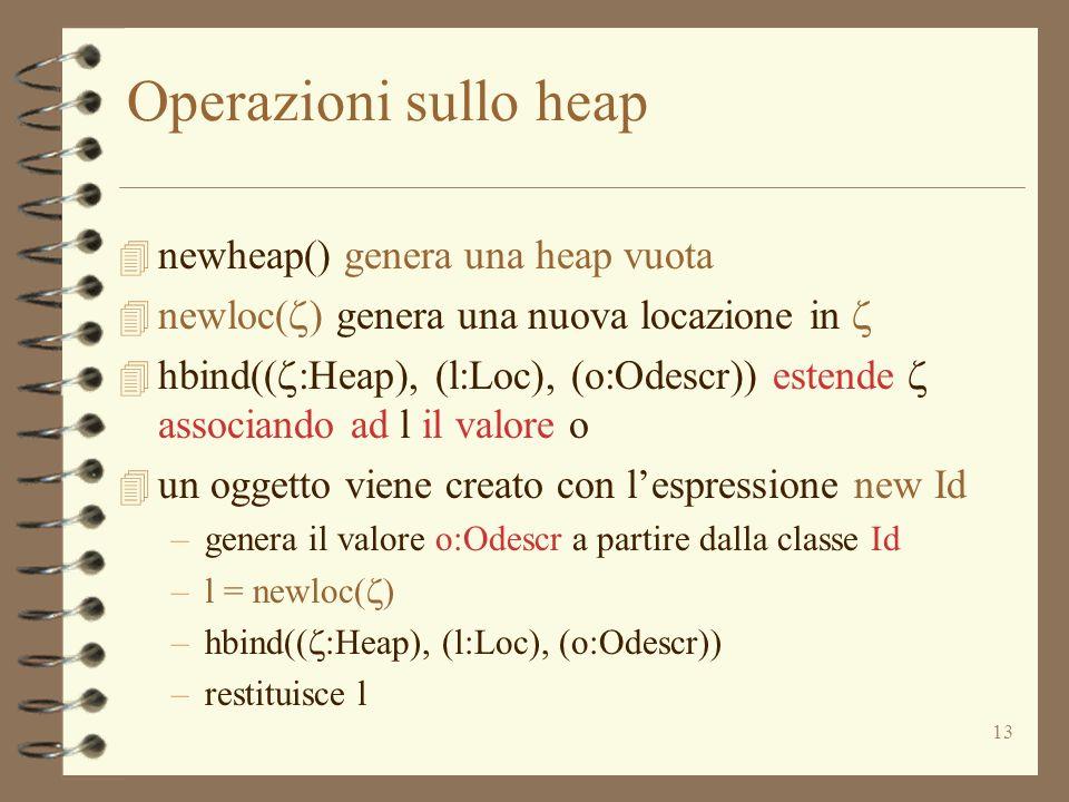 Operazioni sullo heap newheap() genera una heap vuota