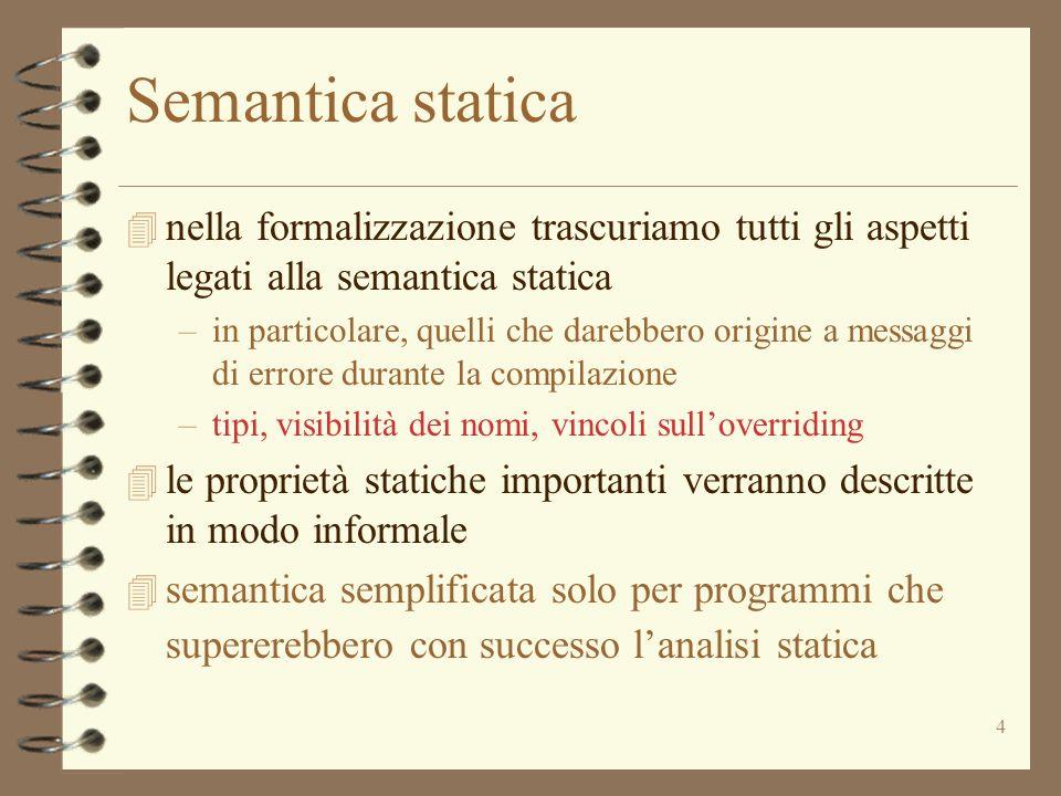 Semantica statica nella formalizzazione trascuriamo tutti gli aspetti legati alla semantica statica.