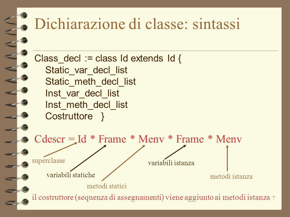 Dichiarazione di classe: sintassi