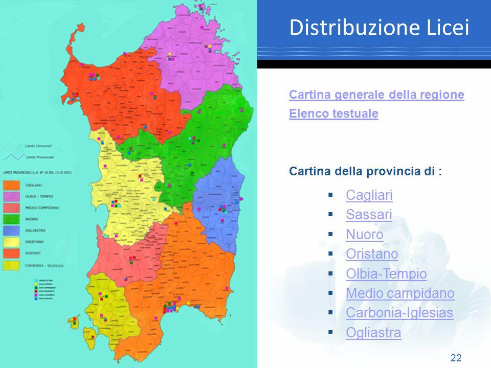 Distribuzione Licei Cagliari Sassari Nuoro Oristano Olbia-Tempio