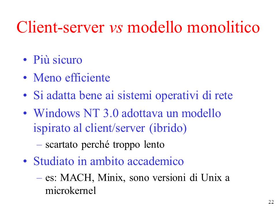 Client-server vs modello monolitico