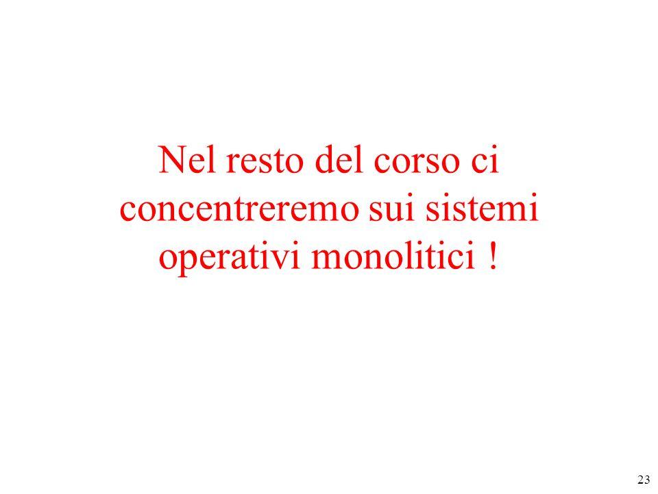 Nel resto del corso ci concentreremo sui sistemi operativi monolitici !