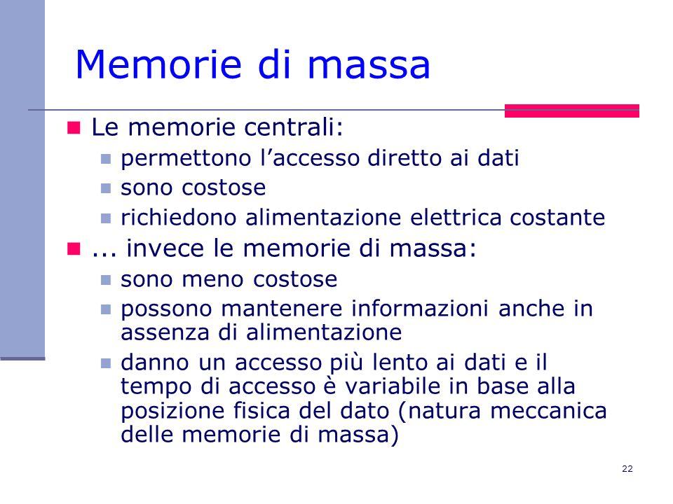 Memorie di massa Le memorie centrali: ... invece le memorie di massa:
