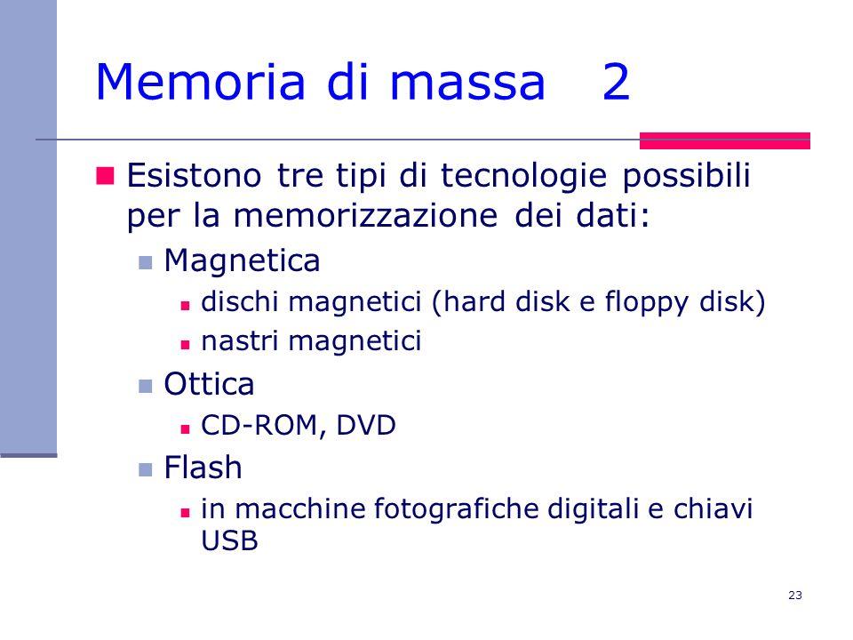 Memoria di massa 2 Esistono tre tipi di tecnologie possibili per la memorizzazione dei dati: Magnetica.