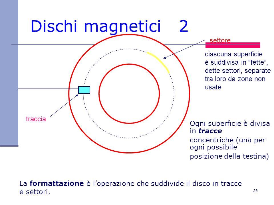 Dischi magnetici 2 settore ciascuna superficie è suddivisa in fette ,