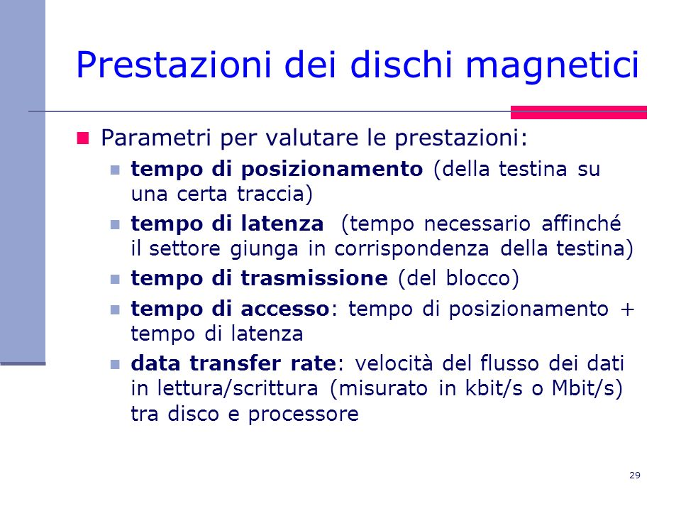 Prestazioni dei dischi magnetici
