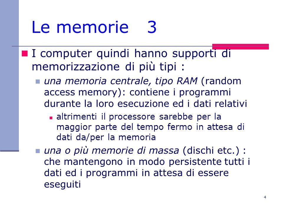 Le memorie 3 I computer quindi hanno supporti di memorizzazione di più tipi :