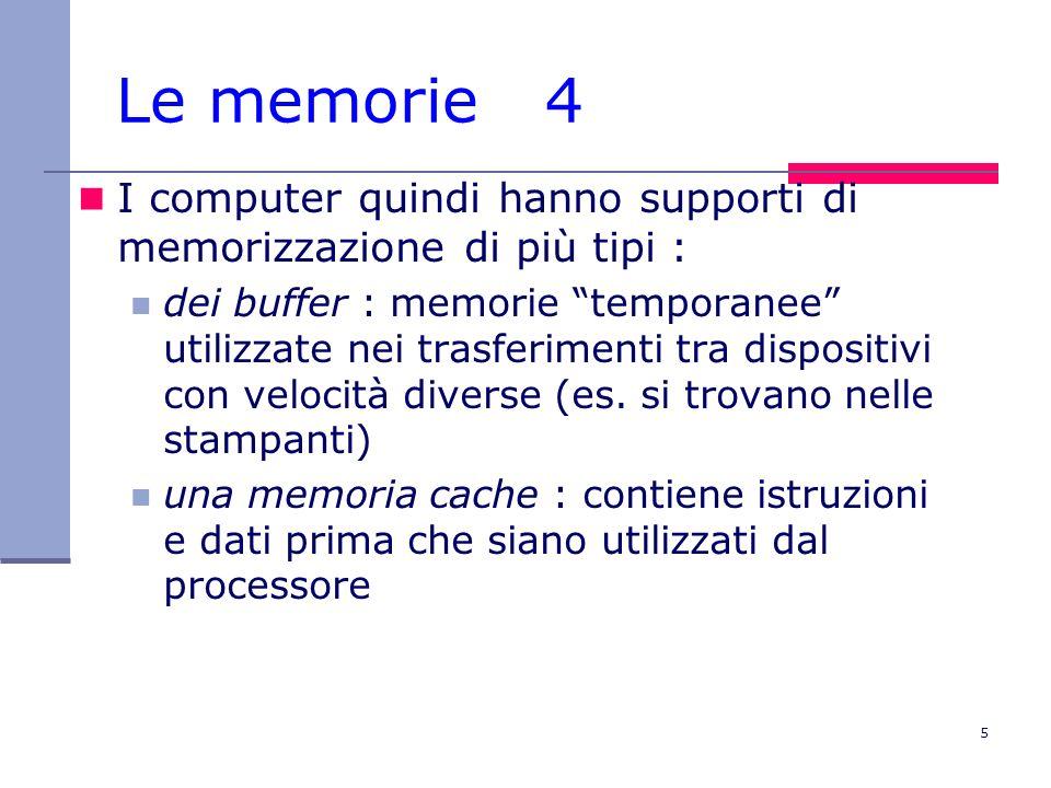 Le memorie 4 I computer quindi hanno supporti di memorizzazione di più tipi :