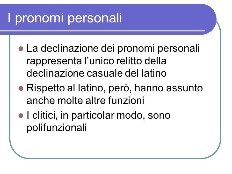 I pronomi personali La declinazione dei pronomi personali rappresenta l'unico relitto della declinazione casuale del latino.