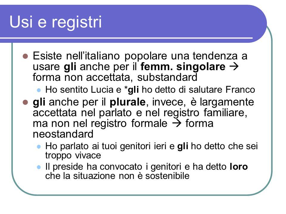 Usi e registri Esiste nell'italiano popolare una tendenza a usare gli anche per il femm. singolare  forma non accettata, substandard.