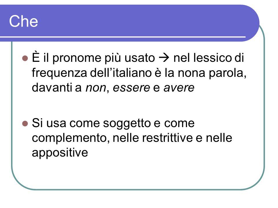 Che È il pronome più usato  nel lessico di frequenza dell'italiano è la nona parola, davanti a non, essere e avere.