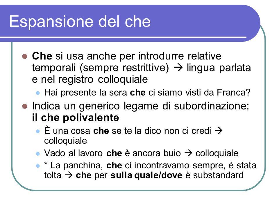 Espansione del che Che si usa anche per introdurre relative temporali (sempre restrittive)  lingua parlata e nel registro colloquiale.