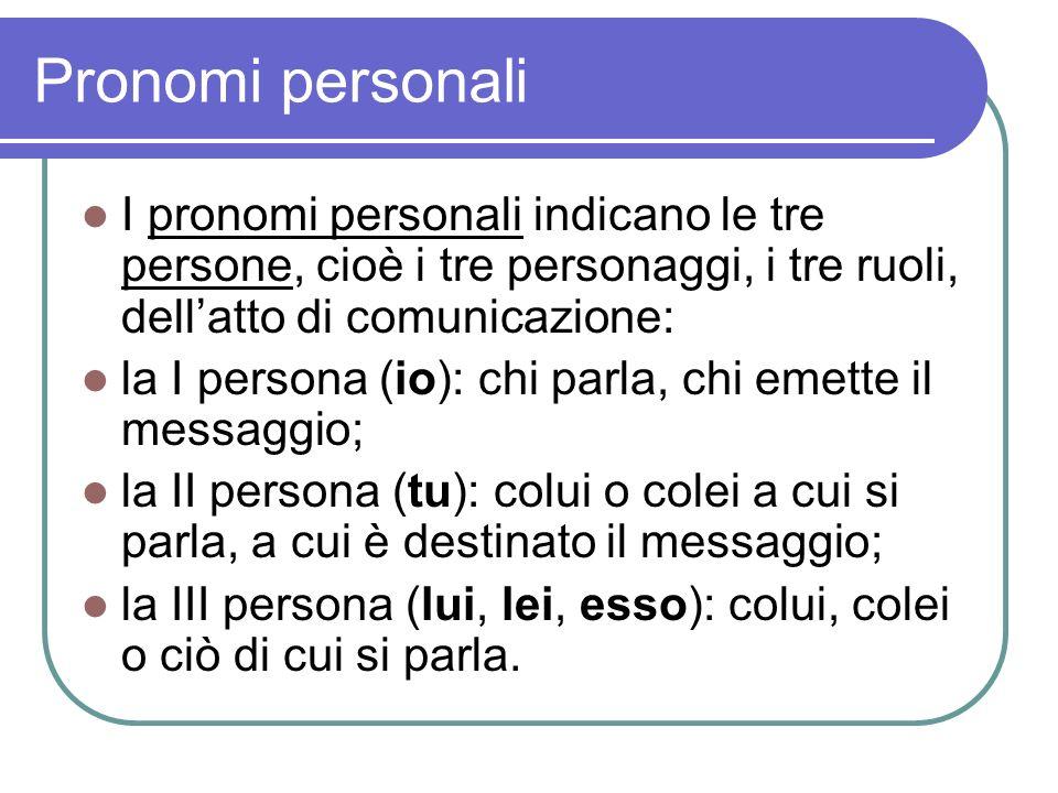Pronomi personali I pronomi personali indicano le tre persone, cioè i tre personaggi, i tre ruoli, dell'atto di comunicazione: