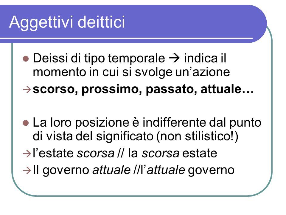 Aggettivi deittici Deissi di tipo temporale  indica il momento in cui si svolge un'azione. scorso, prossimo, passato, attuale…