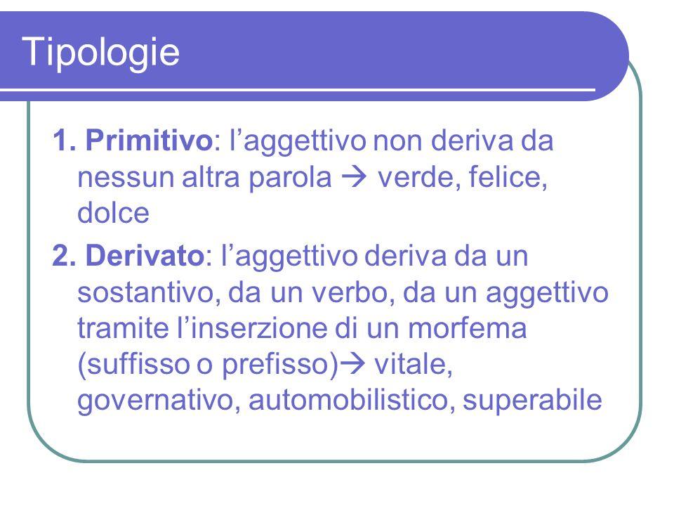 Tipologie 1. Primitivo: l'aggettivo non deriva da nessun altra parola  verde, felice, dolce.