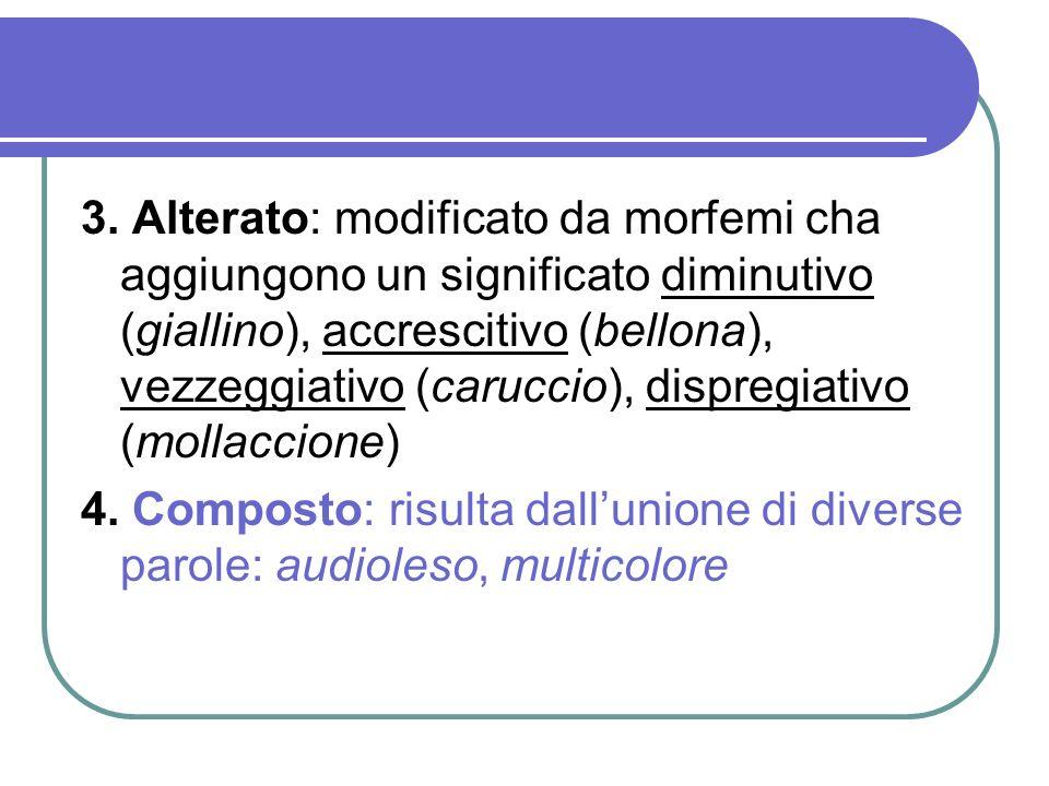 3. Alterato: modificato da morfemi cha aggiungono un significato diminutivo (giallino), accrescitivo (bellona), vezzeggiativo (caruccio), dispregiativo (mollaccione)