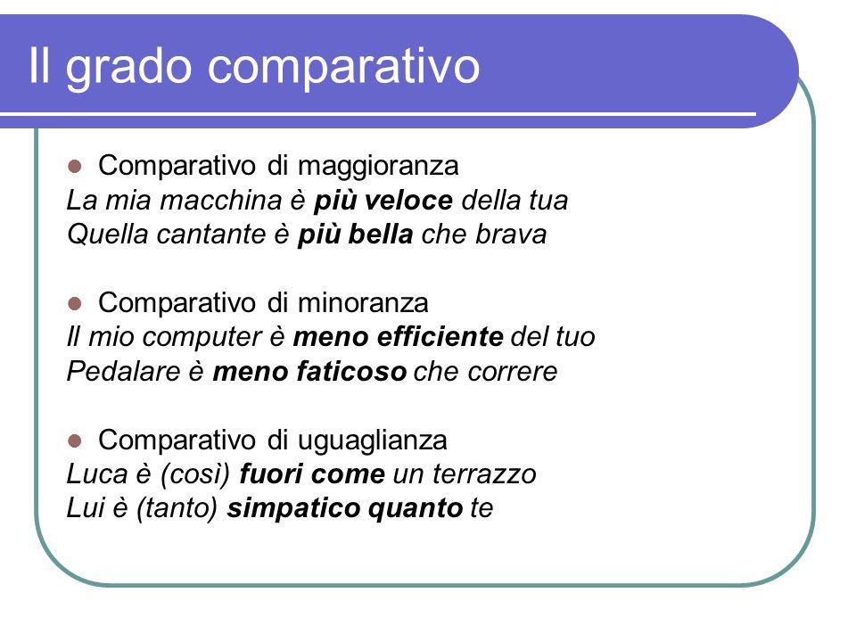 Il grado comparativo Comparativo di maggioranza