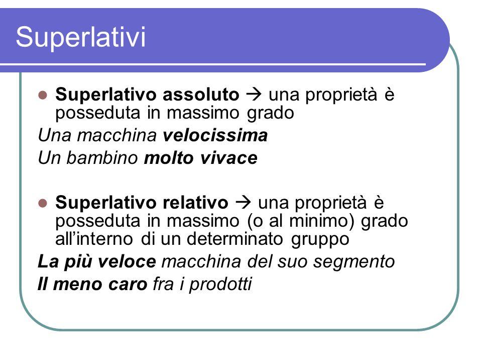 Superlativi Superlativo assoluto  una proprietà è posseduta in massimo grado. Una macchina velocissima.