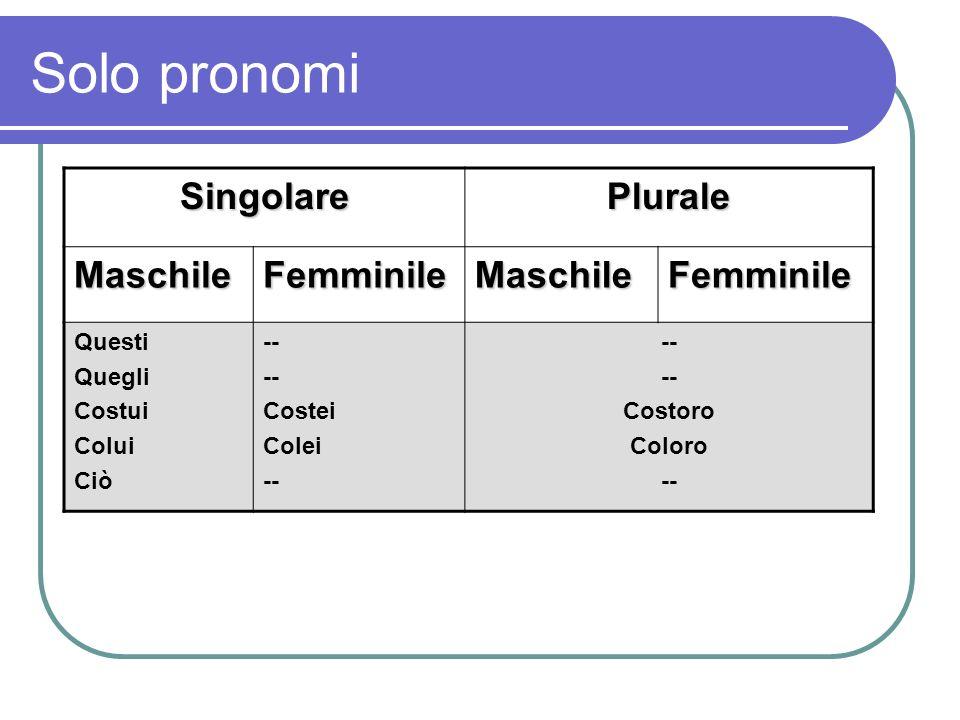 Solo pronomi Singolare Plurale Maschile Femminile Questi Quegli Costui