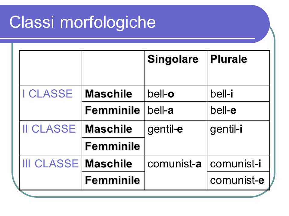 Classi morfologiche Singolare Plurale I CLASSE Maschile bell-o bell-i