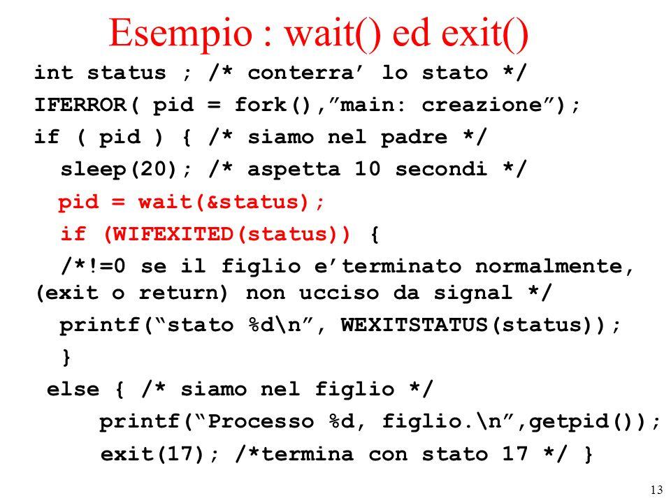 Esempio : wait() ed exit()