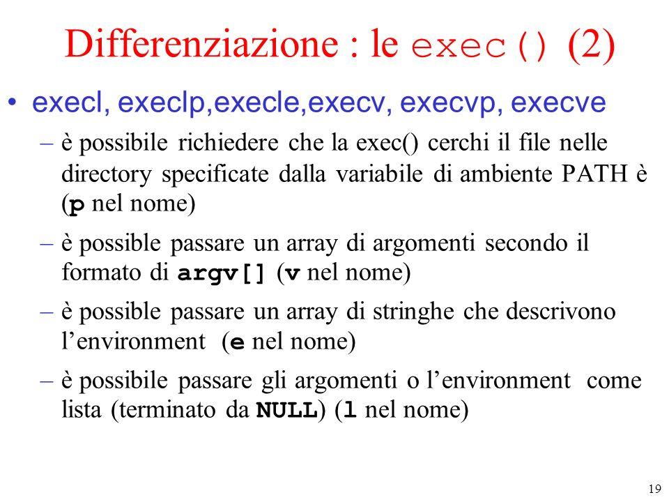 Differenziazione : le exec() (2)