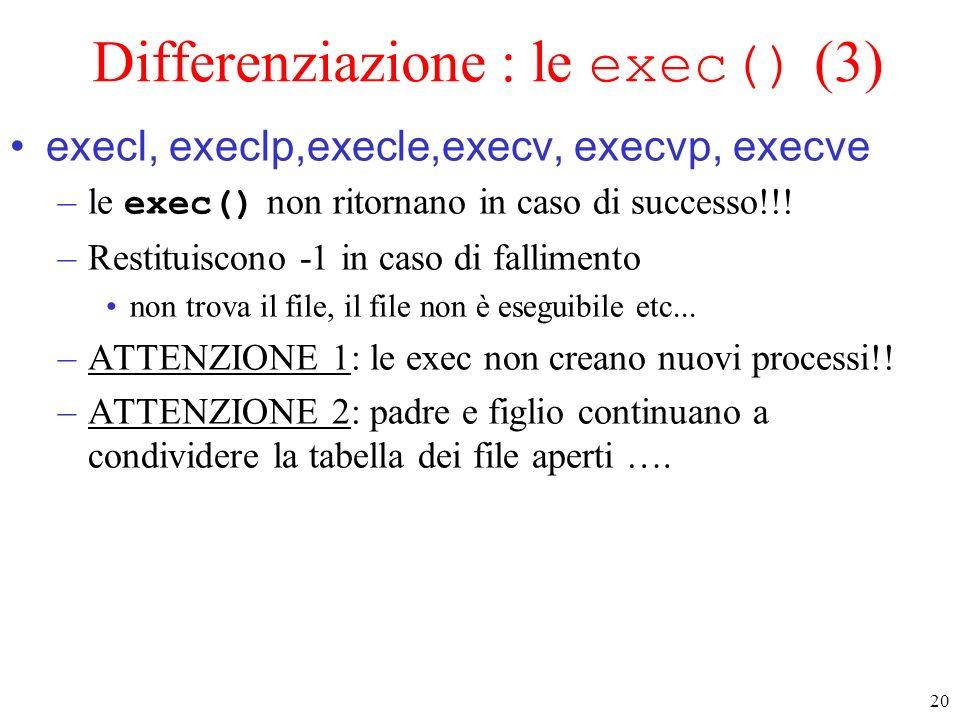 Differenziazione : le exec() (3)