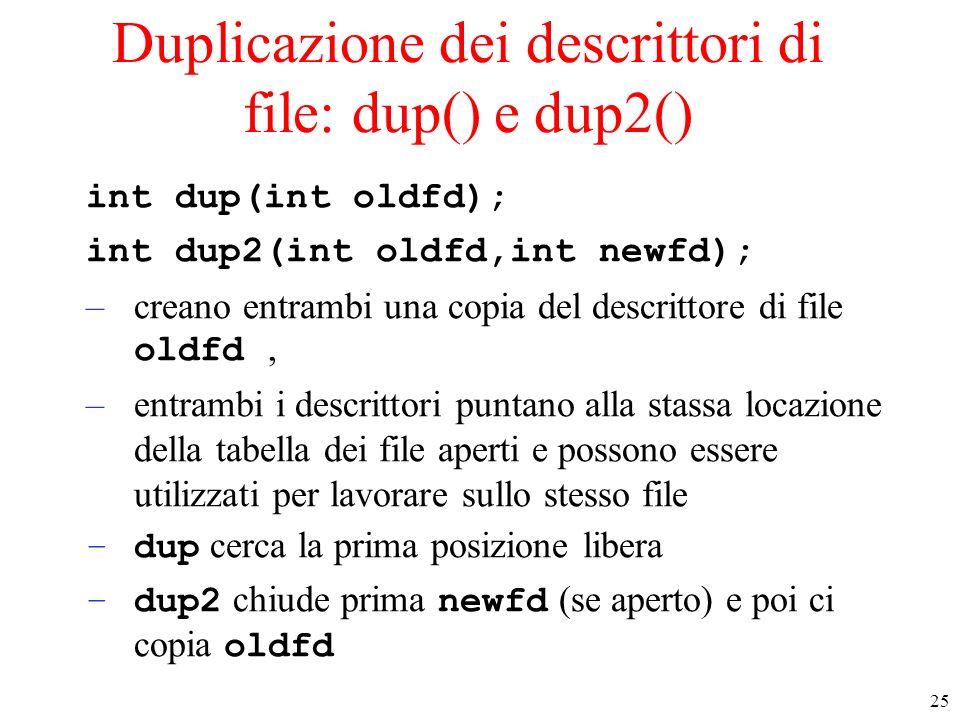 Duplicazione dei descrittori di file: dup() e dup2()