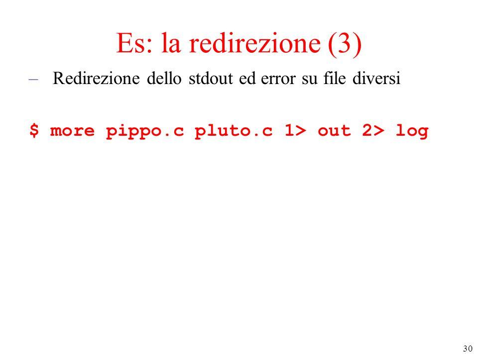 Es: la redirezione (3) Redirezione dello stdout ed error su file diversi.