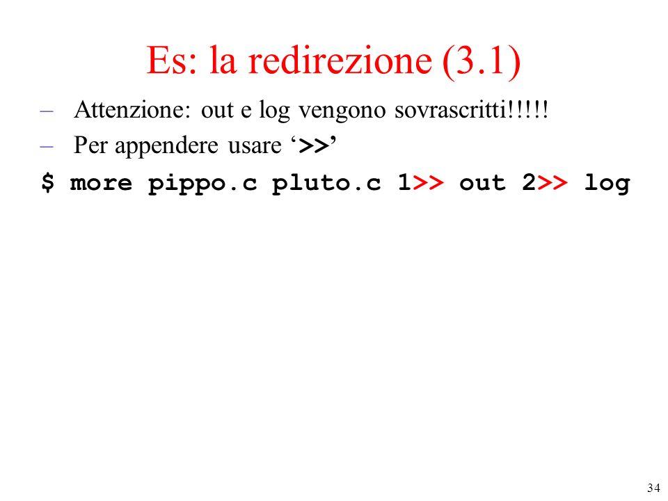 Es: la redirezione (3.1) Attenzione: out e log vengono sovrascritti!!!!.