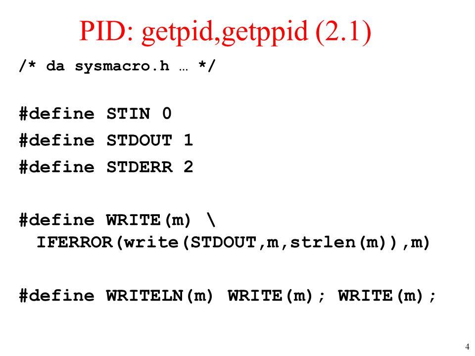 PID: getpid,getppid (2.1) #define STIN 0 #define STDOUT 1