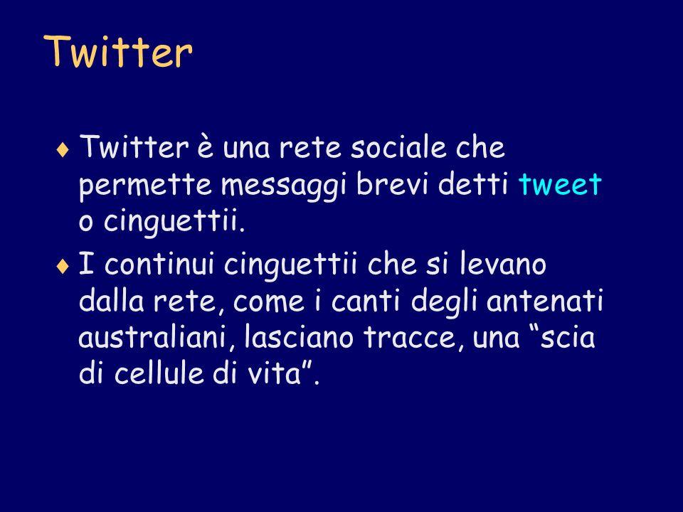 Twitter Twitter è una rete sociale che permette messaggi brevi detti tweet o cinguettii.