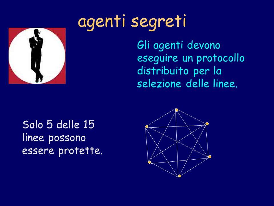 agenti segreti Gli agenti devono eseguire un protocollo distribuito per la selezione delle linee.
