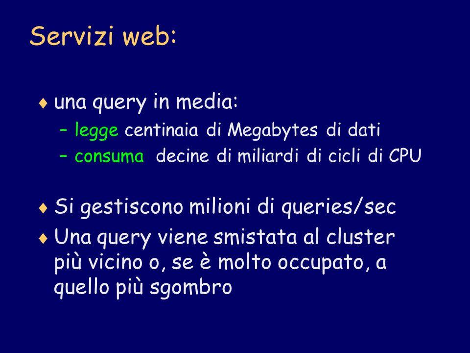 Servizi web: una query in media: Si gestiscono milioni di queries/sec