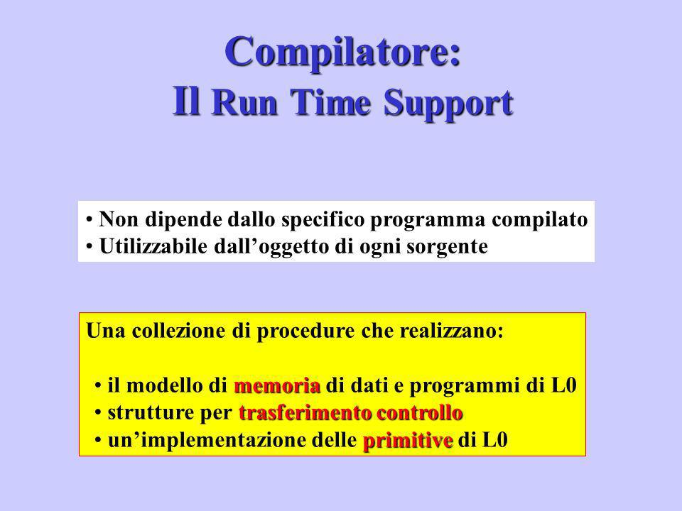 Compilatore: Il Run Time Support