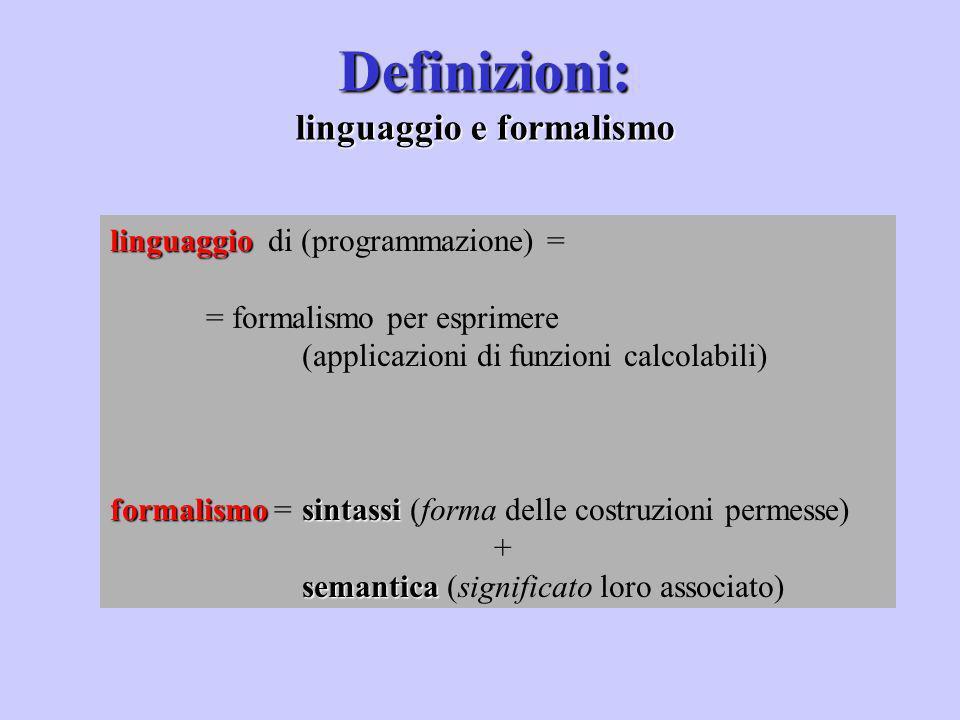 Definizioni: linguaggio e formalismo