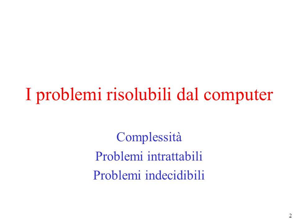 I problemi risolubili dal computer