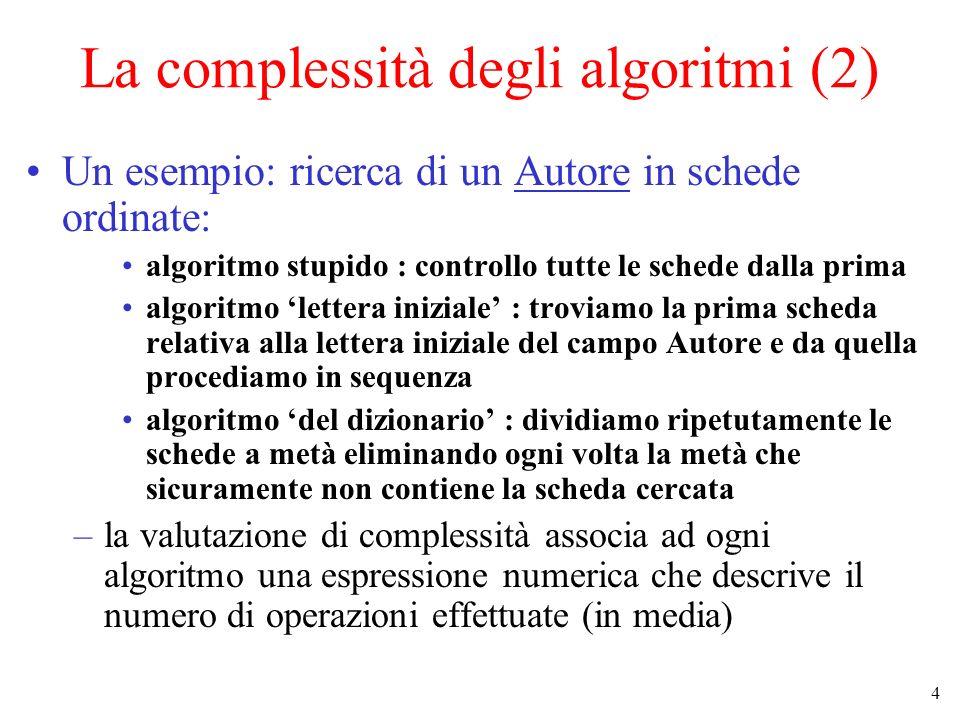 La complessità degli algoritmi (2)