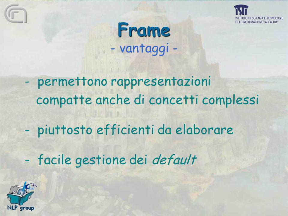 Frame - vantaggi - - permettono rappresentazioni