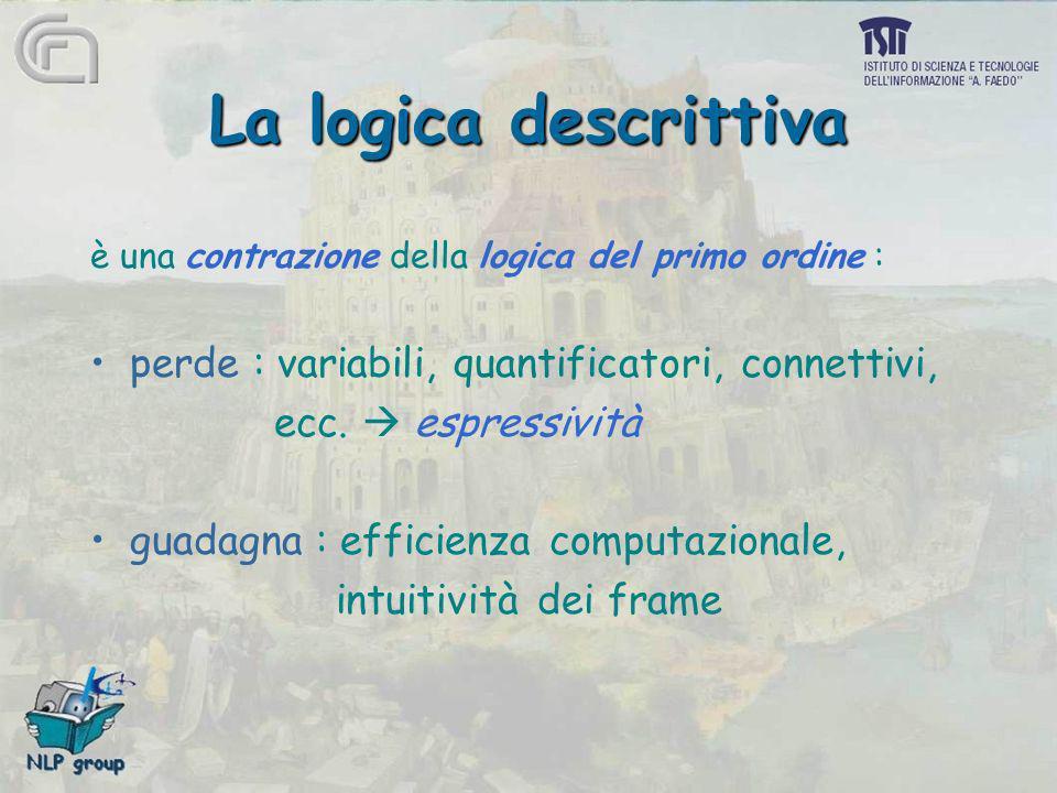 La logica descrittiva perde : variabili, quantificatori, connettivi,