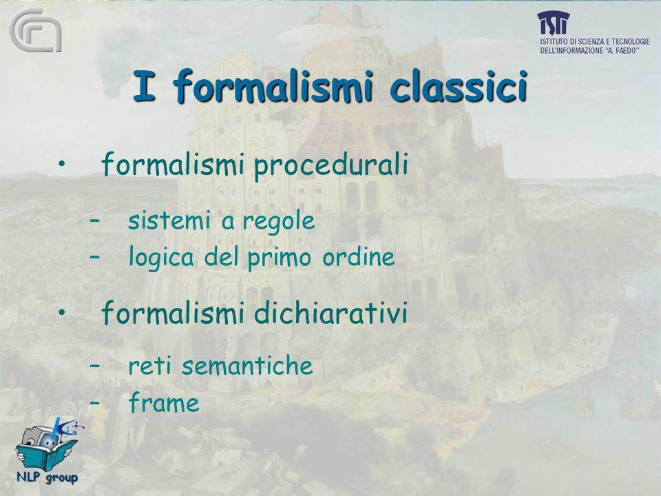I formalismi classici formalismi procedurali formalismi dichiarativi